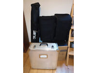 PA system: QSC K8s + The Box Pro Achat 112 Sub A speakers, Soundcraft EFX8 mixer, tote bags, stands