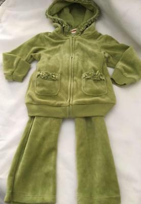 Infant Girls Greendog Velour 2 Pc. Jogging Suit ~ 12 mos.~Fern Leaf~New With Tag