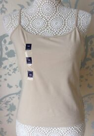 Women's Clothing Beige Top with Hidden Bust Support Size 14 BNWT