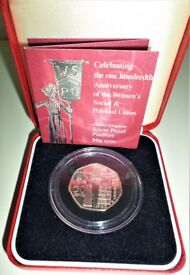 2003 SUFRAGETTE PIEDFORT .925 STERLING SILVER PROOF 50 PENCE COIN - BOX - COA
