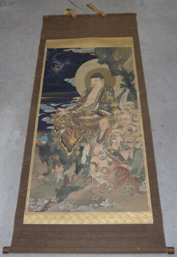 """Antique Japanese """"Buddha and His Disciples"""" Hanging Scroll"""