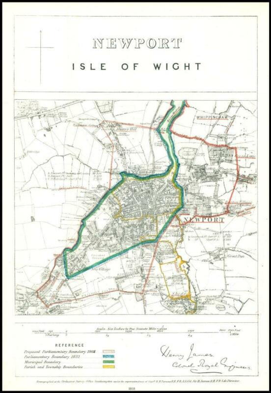 1868 Hampshire Boundary Commission Ordnance MAP NEWPORT (Isle of Wight) (BC120)