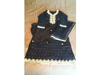 Navy Blue Asian/Pakistani Party Wear Suit