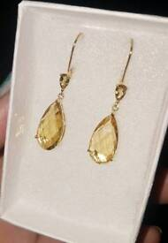 Pair Solid 9ct Yellow Gold Beautiful Citrine Dropper Earrings Pear Cut 375 Hallmarked 3.2 grams
