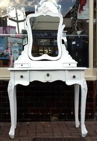 French Style Cream Dressing Table and Mirror