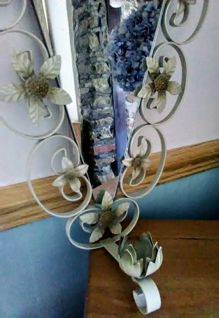 Vintage Retro Mirror & Candle Holder. Shabby chic style. Unusual shape.