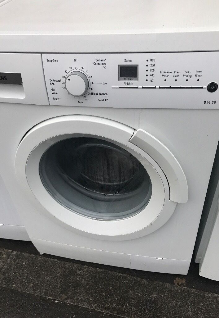 SIEMENS 8KG Washing machinein Willesden, LondonGumtree - SIEMENS Washing machine available 8KG loading and 1400 rpm spin speed Strong model and make Nice and clean. Made of Germany Fully tested. A rating and 3 mnths Warranty Delivery, fittings and remove your one for £20