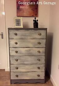 Beautiful solid upcycled tallboy chest of drawers in fossil grey and old cream finish