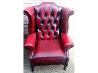 1 x Red Chesterfield Arm Chair REF: 10