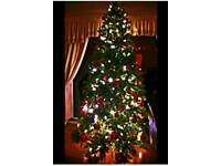 Christmas tree 7ft 5ins boxed with 2 boxed sets of baubles and mixed decorations.