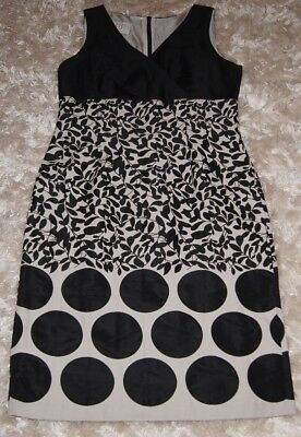 SISEL White & Black Dress winter party Dot Floral Formal Office Beautiful Smart Winter Dot Kleid