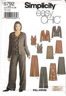 Simplicity 5792 Sewing Pattern UC Misses Bias Skirt Pants Vest Jacket Size 12-20