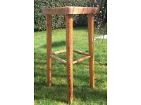 Chunky vintage pine bar stool