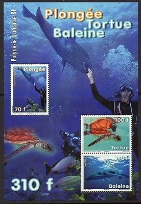 FRENCH POLYNESIA 2009 TURTLE WHALE SCUBA SS VF MNH 1010A