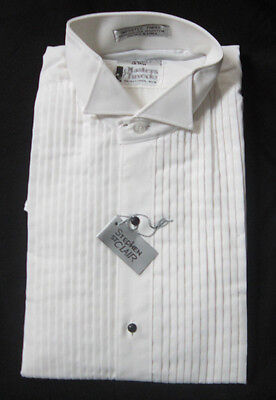 New White Wing Collar Pleated Front Cotton Blend Tuxedo Shirt Small S 14.5 (Small Tuxedo)