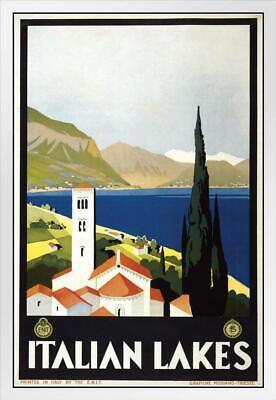 Italian Lakes Vintage Travel White Wood Framed Poster 14x20