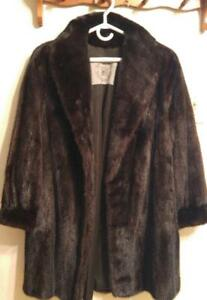 Oakville MINK FUR SWING COAT 12P REAL HBC VERY Dark brown~WARM Short Petite Dark Brown Vintage canada Hudson Bay Co MINT