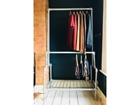 PAIR of Industrial Urban Wardrobe Reclaimed Galvanised Scaffold Metal Clothes Storage Retail