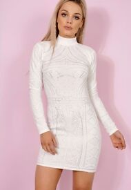 Brand new ladies womens high neck long sleeve embellished bodycon dress