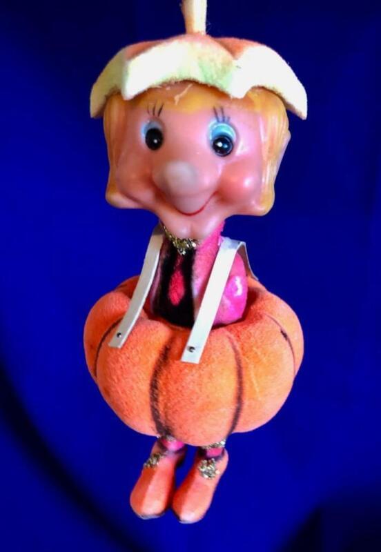 """PUMPKIN Delta Novelty 1970 Soft Plastic GIRL/BOY Ornament 5.25"""" h Old Vintage"""