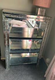 Crushed glass mirror 3 shelf unit