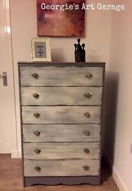 Solid fully refurbished tallboy chest of drawers in fossil grey and old cream finish