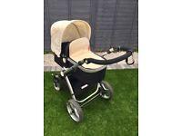 Cream black Überchild travel system carry cot pram pushchair buggy