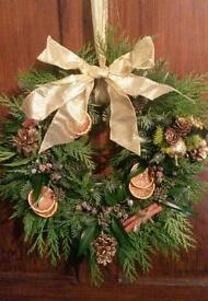 Freshly made Christmas wreath with beautiful detail