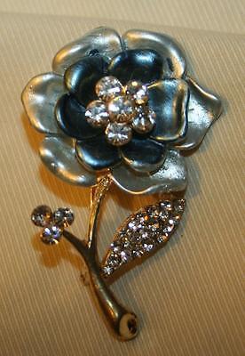Lovely Deep Blue & Pearl Gray Enamel Rhinestone Flower Goldtone Brooch Pin