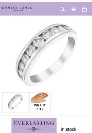 1carat diamond white gold eternity ring size K