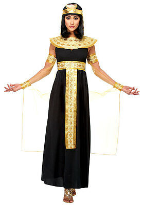 ADULT WOMEN LADY CLEOPATRA EGYPTIAN QUEEN OF THE NILE COSTUME BLACK GOLD - Womens Cleopatra Costume