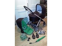 Mamas & Papas Sola Travel System, inc raincovers, parasol and car seat adapters