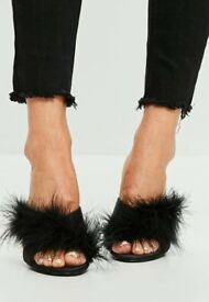 Black fur Mule-Missguided