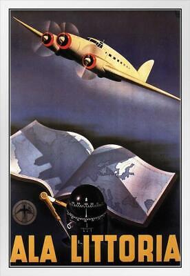 Ala Littoria Italian Airlines Vintage Travel White Wood Framed Poster 14x20