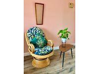 Vintage Rattan Cane Bamboo Rattan Wicker Tiki Boho Rocking Swivel Conservatory Arm Chair