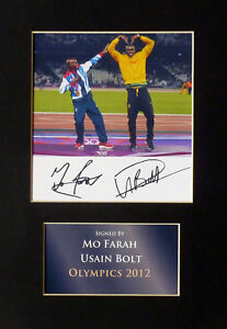 Usain Bolt and Mo Farah Olympics Signed Mounted Photo Display Autograph 2012