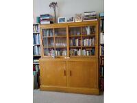 Mid-century design bookcase-cabinet with sliding doors – bargain price!