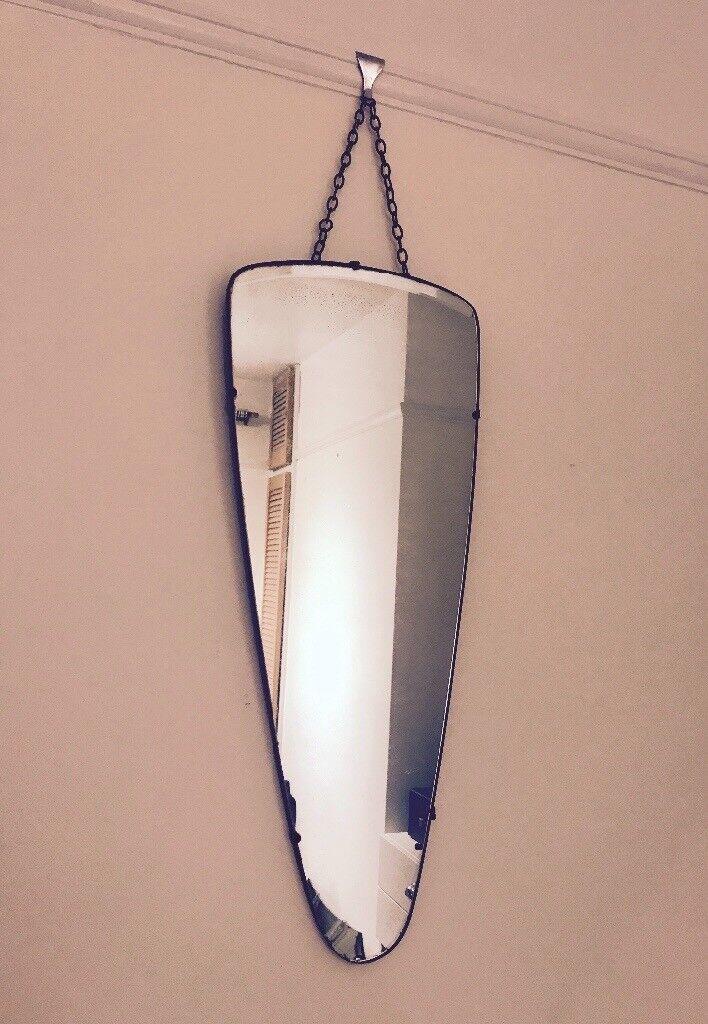 Vintage c1930's Mirror with Chain- teardrop shape