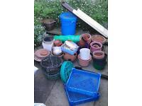 Gardening pots, hanging baskets, seeds