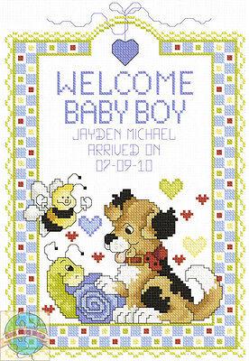 Cross Stitch Kit ~ Janlynn Welcome Baby Boy Cute Birth Record #080-0469 Baby Boy Birth Record