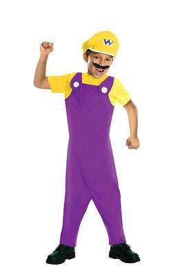 Jungen Kind Super Mario Brothers Bros Wario Mario Lila Gelb Kostüm (Wario Kostüm Kostüm)