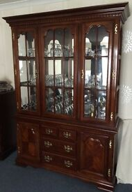 Glass fronted display wall unit with inside lighting