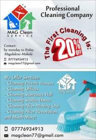 Professional cleaning of offices and companies 12 to 15 pounds an hour