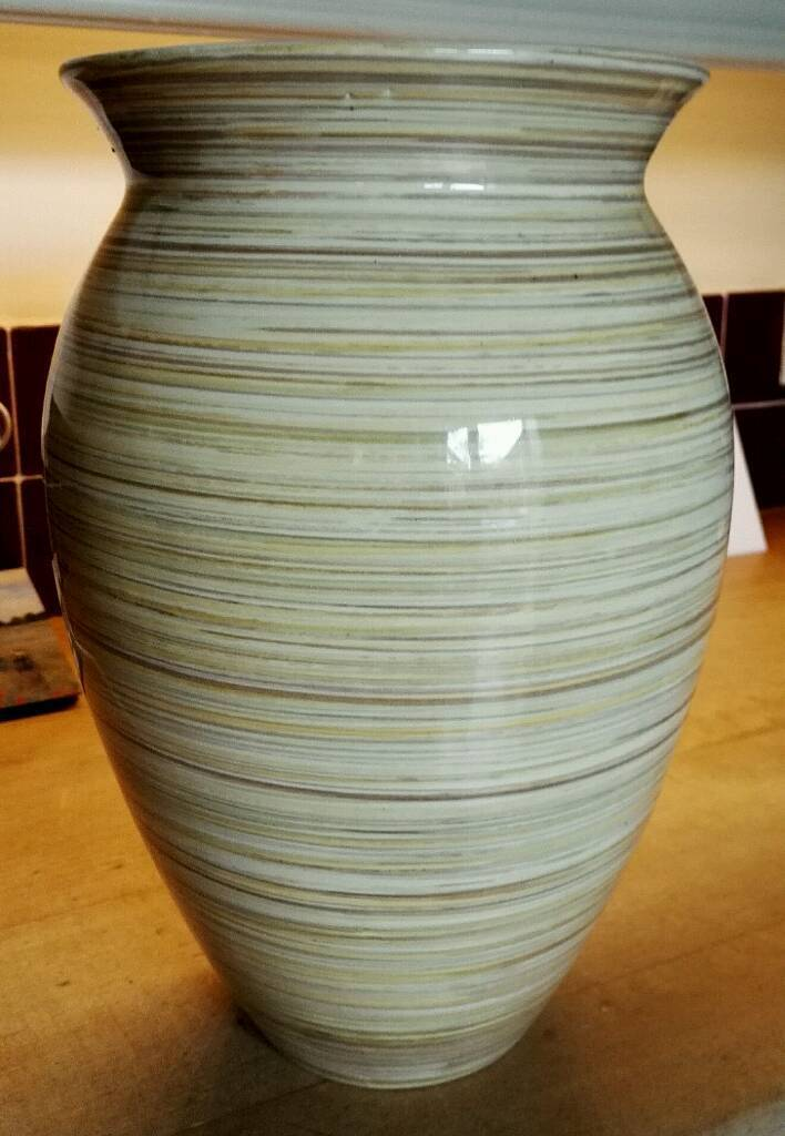 Large Ceramic Vase, Background Yellow/Cream with Hooped Colours.