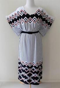 RETRO-Atomic-MOD-Zig-Zag-Stripe-Kimono-CHEVRON-80s-OFFICE-Party-Vintage-Dress-L