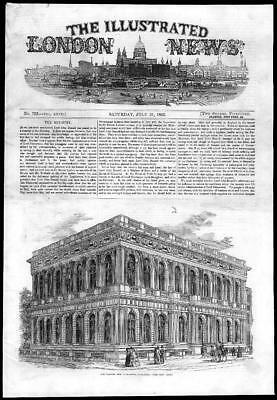 1855 Antique Print - LONDON Pall Mall Carlton New Club House  (159)
