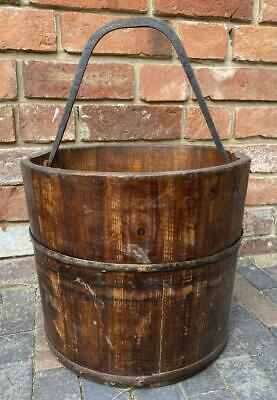 Large Vintage Wooden Bucket / Pail - Iron Handle & Banding - Garden or Indoor