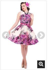Vintage Purple Rose Floral Tea Dress & Petticoat