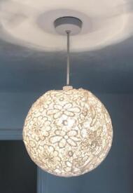 Cream fabric patterned light shade