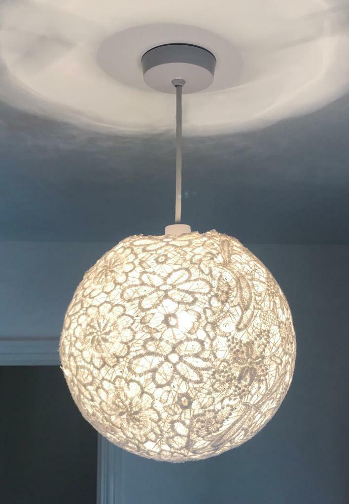 Cream fabric patterned light shade